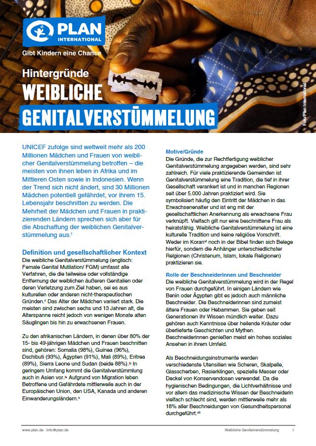 """Hintergrundinfo """"Weibliche Genitalverstümmelung"""""""