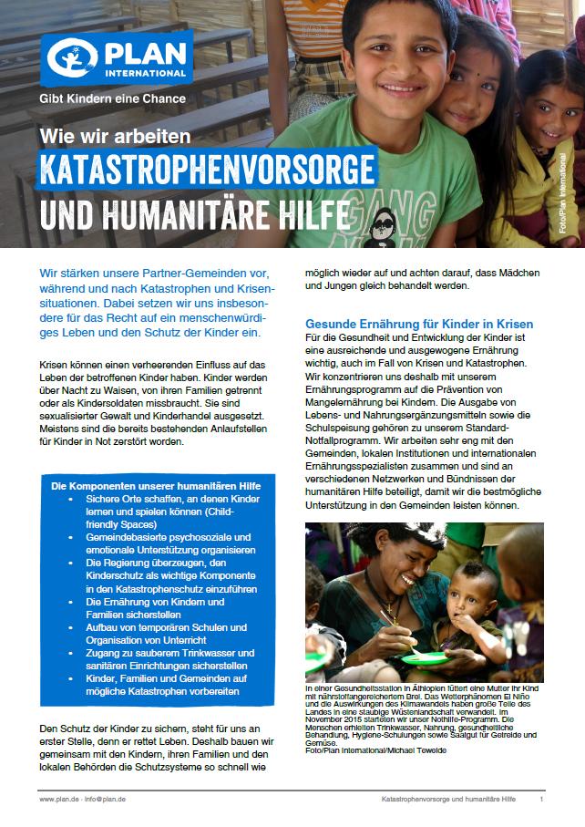 """Wie wir arbeiten """"Katastrophenvorsorge und humanitäre Hilfe"""""""