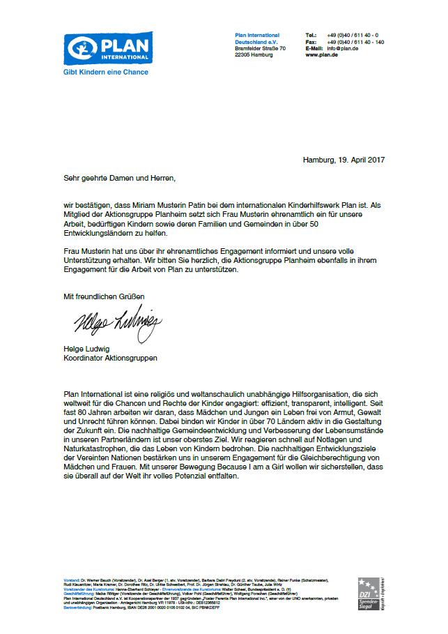 Ehrenamt-Bestätigung für AG-Mitglieder