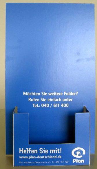 Flyer-Aufsteller mit Plan-Logo
